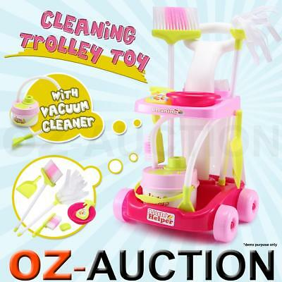 Kids Children Toy Maid Cleaner Cleaning Pretend Play Trolley Set Vacuum Cleaner