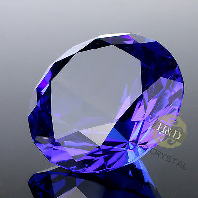 Blue Crystal Diamond Shaped Paperweight Cut Glass Gem Display Ornament Gift 40mm