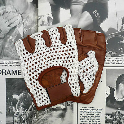Vintage, Retro Style, Tan Leather Cycling Gloves with White Crochet Cotton Back