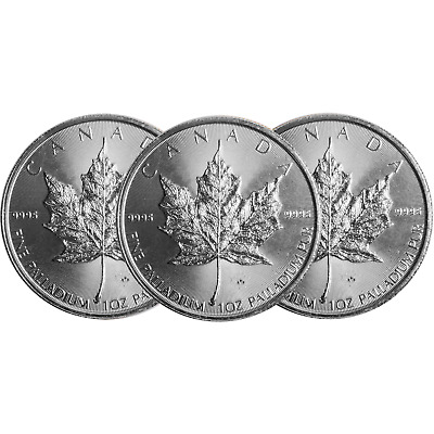 Lot of 3 - 2015 $50 Palladium Canadian Maple Leaf .9995 1 oz BU Sealed