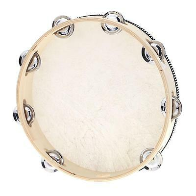 "10"" Hand Held Tambourine Drum Bell Metal Jingles Musical Toy Percussion 38GR"