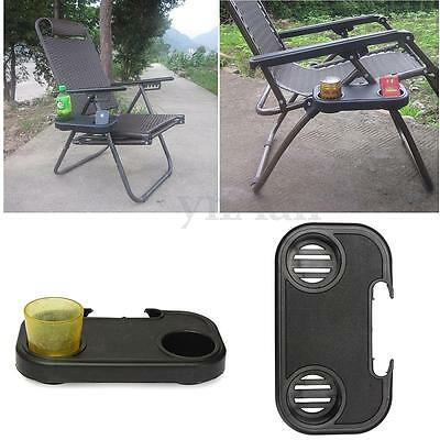 Clip-On Relaxer Beach Chair Side Table Tray 2 Cup Glass Drink Beverage Holder
