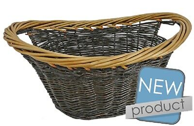 Manor Wicker woven willow 2 tone Log storage Basket Cradle with handles 61cm