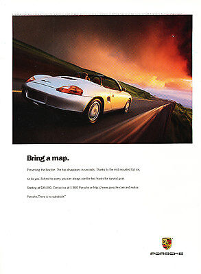 1997 Porsche Boxster - bring map -  Original Advertisement Car Print Ad J368