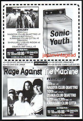 1995 Sonic Youth Rage Against the Machine photo JAPAN tour promo ad / s012c
