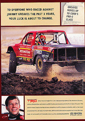 2000 Johnny Greaves Toyota Rally Race Original Advertisement Car Print Ad J371