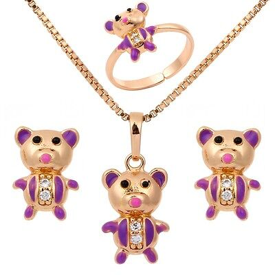 Kid Girl 18K Gold Filled Purple Painting Bear Ring Earrings Necklace Jewelry Set