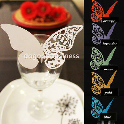 Luxury Laser Cut Heart Butterfly Humming Bird Glass Place Cards Pearlscent Card