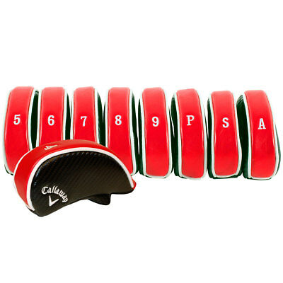 Callaway Golf Deluxe Iron Head Covers 4 - PW, SW, AW - Set of 9 Red/Wht/Blk