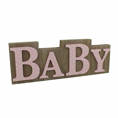 Petit Cheri Wall Plaque Shelf Decor Wood Effect Pink Polka Dot Lettering Baby