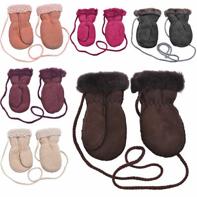 Kids Childs Soft Genuine Real Sheepskin Thumb Mittens Mitts Keep Safe Cord