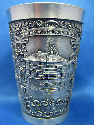 "4 1/4"" Antique German  Pewter Embossed & Engraved Cup City Scenes  Very Nice"