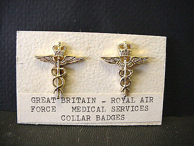 Great Britain Royal Air Force Medical Services Set of 2 Collar Badges