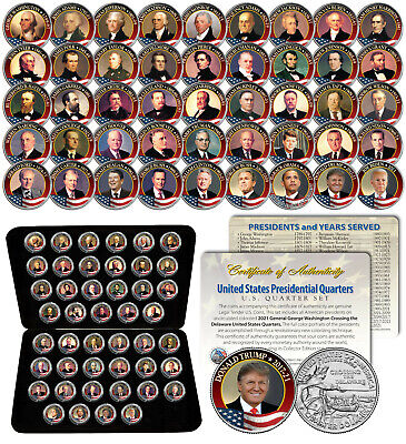 ALL 43 United States PRESIDENTS Colorized 2009 DC Quarters 43-Coin Set US w/Box