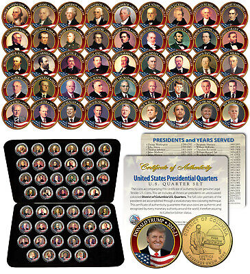 ALL 43 United States PRESIDENTS Colorized DC Quarters 43-Coin Set 24K Gold w/Box