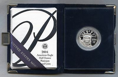 2004-W $50 PROOF Platinum Eagle -- 1/2 ounce, in original Government Packaging