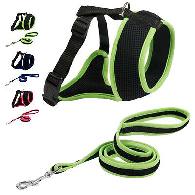 Dog padded Harness and reflective Lead strap chain Adjustable for Dog Puppy Pet