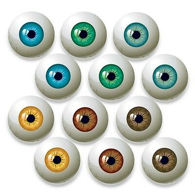 12pcs (6 Pairs) Scary Printed Eye Ball Glass Cameo Round Cabochon 20mm