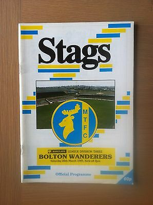 Mansfield Town V Bolton Wanderers 1988-89