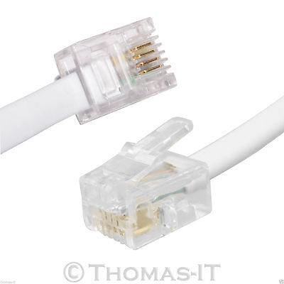 2M Meter RJ11 US to US 4 Pins ADSL DSL TelePhone Computer Laptop Broadband Cable