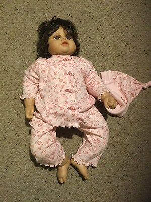 """Heritage Mint LTD 20"""" Vinyl Doll.  Brown Hair And Eyes.  Pink Outfit."""