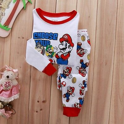 Super Mario Kids Baby Girls Boys Winter Nightwear Pajamas Set Sleepwear 1-7Y