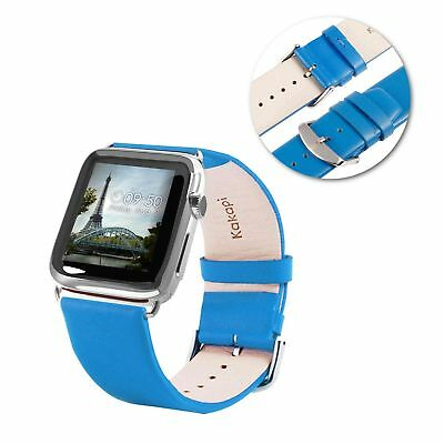 Tuff-Luv Genuine Leather Wrist Strap Band for Apple Watch 1 / 2 Strap -42mm-Blue