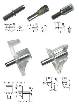 Small 3mm Dia Shelf Studs Supports for 3mm Diameter Holes CHOOSE TYPE & QUANTITY