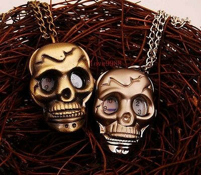New 10pcs Skull design Necklace Pendant pocket Watch quartz boys Kids gift KQ5