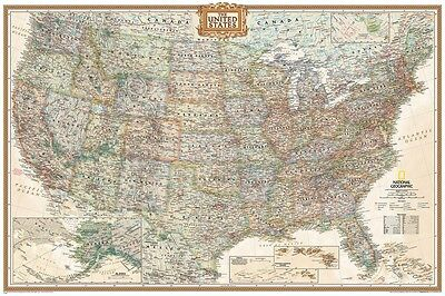 24x36 NatGeo United States Map Educational Wall Decor Shrink Wrapped
