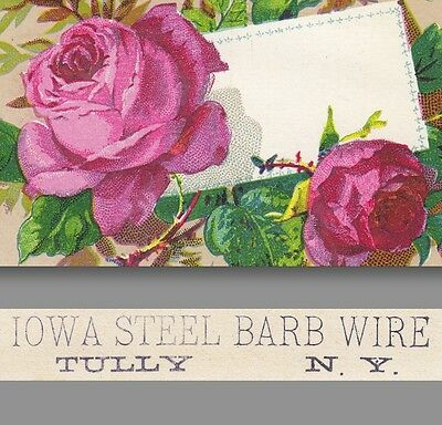 Iowa Steel Barb Barbed Wire Tully NY Peckham Stove NY 1800's Advertising Ad CARD