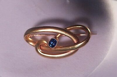 ANTIQUE German Jugendstil 14 kt yellow GOLD Blue Sapphire Deco Style pin