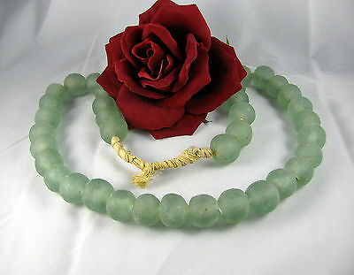 "Gorgeous Green Frosted Glass 27"" Beaded   Necklace CAT RESCUE"