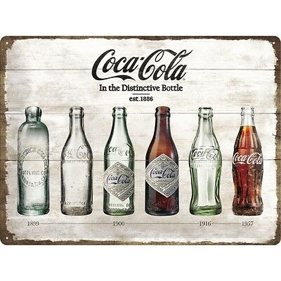 COCA COLA Blechschild 30x40 cm BOTTLE TIMELINE Schild Sign 23207