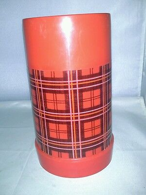 Aladdin Wide Mouth Pint Red Plaid Plastic Thermos With Cup Very Good