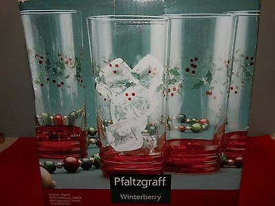 Pfaltzgraff Winterberry Cooler Glasses, Set of 4 - Red Base New in Box Free Ship