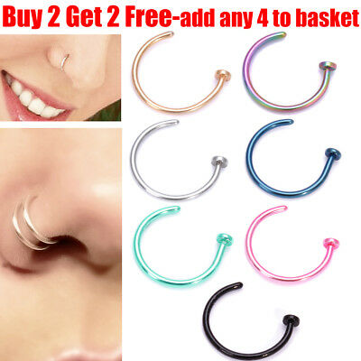 Small Thin 316L Surgical Steel Open Nose Hoop Ring Piercing Stud Body Jewellery