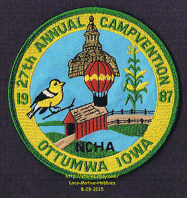 LMH PATCH Badge  1987 27th ANNUAL CAMPVENTION Campers Hikers NCHA Convention IA
