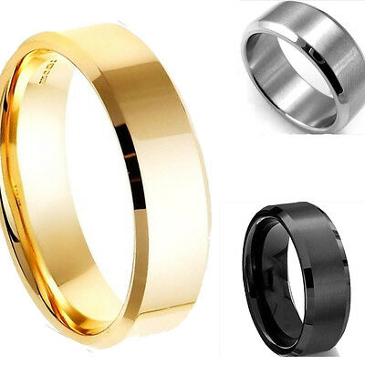 Unisex Size7-13 Men Women's Stainless Steel Ring Band Titanium Silver Black Gold