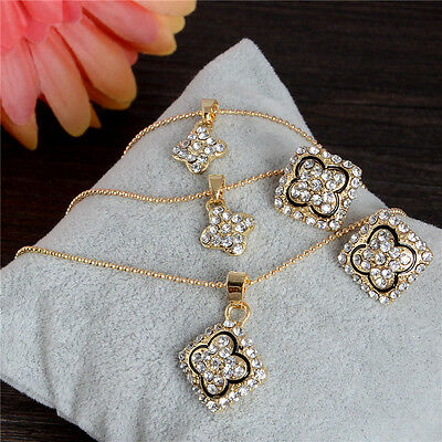 18K Gold Plated Crystal Rhinestone Necklace Earrings Women Fashion Jewelry Set
