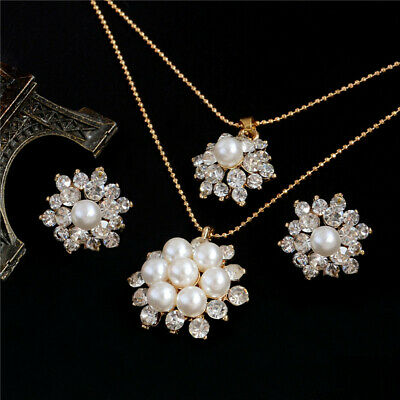 Fashion Gold Plated Crystal Pearl Necklace Earrings Ring Wedding Jewelry Set