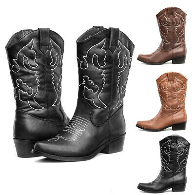 SheSole Womens Winter Cowboy Western Boots Mid Wide Calf Cowgirl Shoes AU 5-11