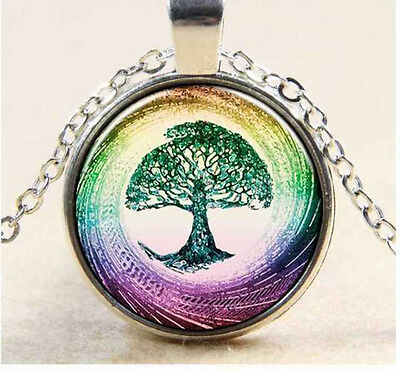 Vintage tree of life Cabochon Tibetan silver Glass Chain Pendant Necklace 3pcs