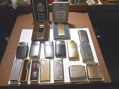 Lot Of 16 Assorted Vintage Butane Lighters Not Working Colibri, Ronson, Scripto