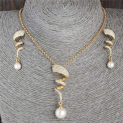 Modern 18k Gold Plated elegant Austrian Crystal jewelry sets necklace/earrings