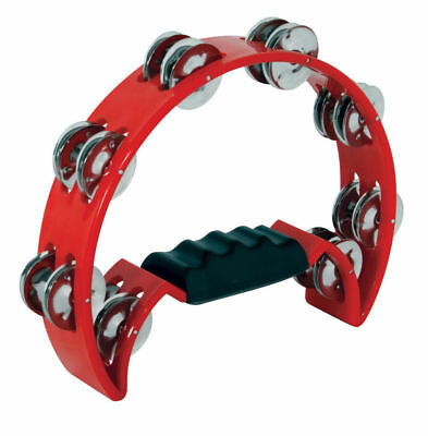 MANO Percussion - Red Half Moon Tambourine *NEW* ABS Rim, 16 Pairs Of Jingles