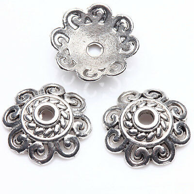25Pcs Tibet Silver Plated Flower Spacer Bead Caps Jewelry Findings DIY 12x3mm