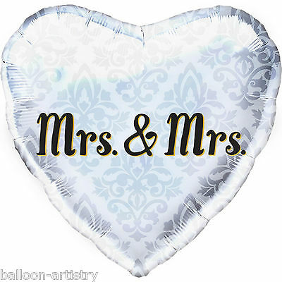 "18"" Classic Love Mrs & Mrs Same Sex Gay Wedding Party Elegant Heart Foil Balloon"