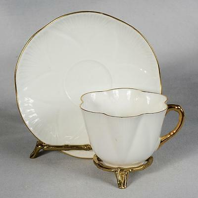 Shelley Teacup & Saucer - Dainty Shape, White With Gold Trim