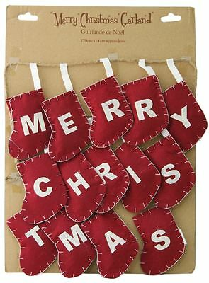 Shabby Chic Style Merry Christmas Bunting Garland Decoration ~ Red Stocking